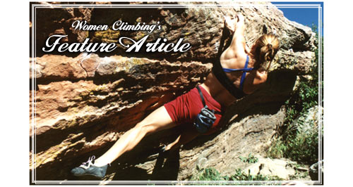 Click for Feature article: picture of Meg bouldering at Horsetooth Res