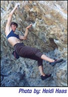 Mia Axon bouldering at Morrison, Colorado